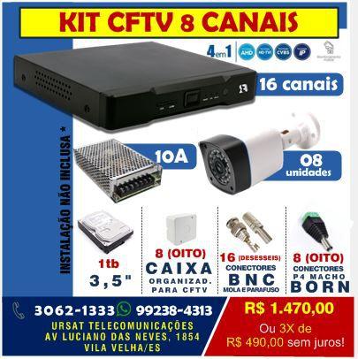 KIT CFTV 8 CAMERAS TRX HTVI23BP10 + DVR 16 CANAIS FOCUSBRAS