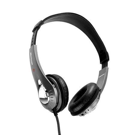 Fone de ouvido c/ microfone embutido no fio preto/prata PH027