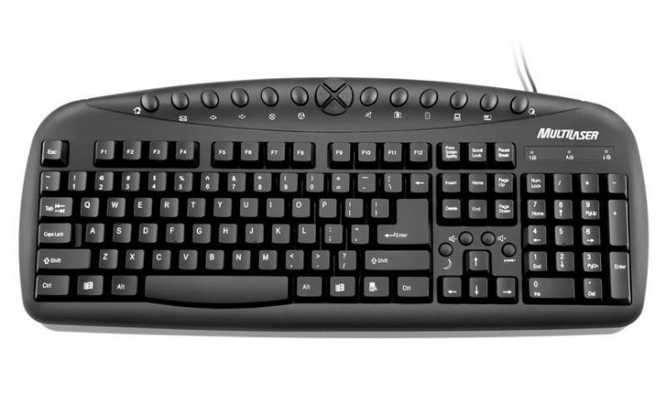 Teclado super multimídia preto USB Multilaser TC081