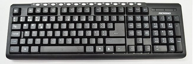 Teclado USB preto ABNT-2 Multimídia Microdigi MD-KB307