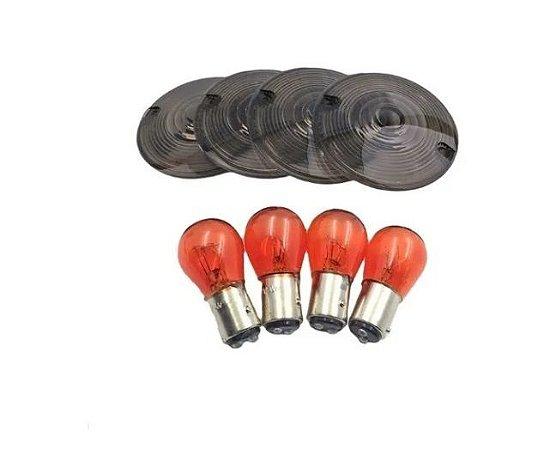 Kit Lentes Fumê de 3 1/4'' + lâmpadas âmbar - Softail e Touring