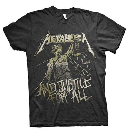 Camiseta Básica Banda Heavy Metal Metallica And Justice For All