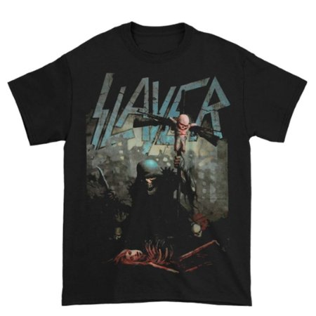 Camiseta Básica Banda Thrash Metal Slayer Soldier Cross