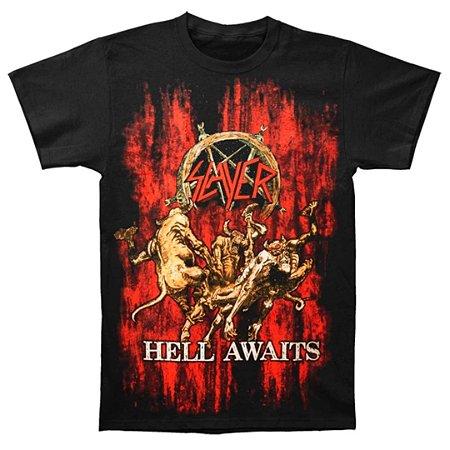 Camiseta Básica Banda Thrash Metal Slayer Hell Awaits