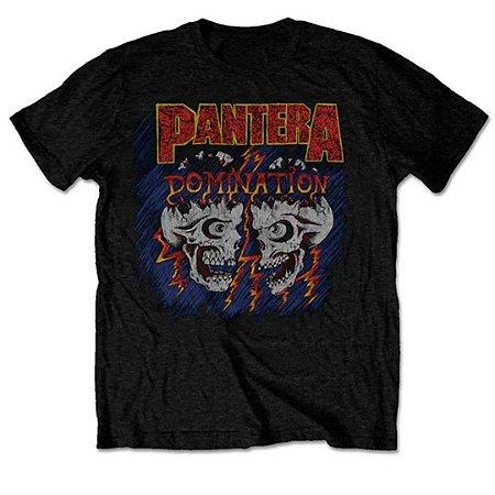 Camiseta Básica Banda Pantera Thrash Metal Domination Skull