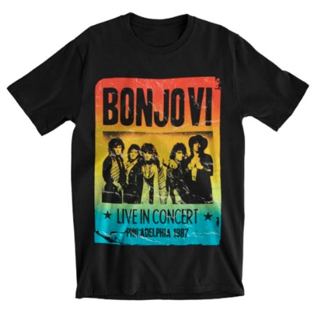 Camiseta Básica Banda Rock Bon Jovi Gradient Flyer