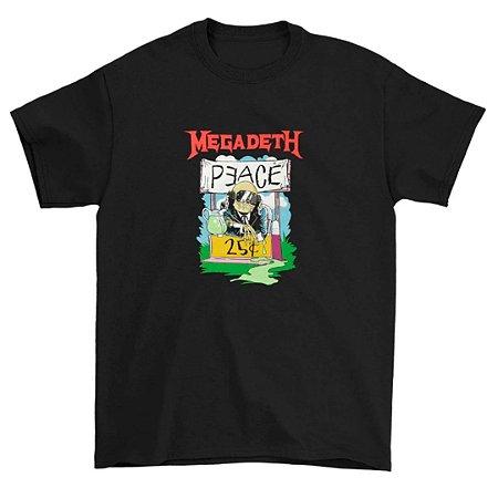 Camiseta Básica Banda Heavy Metal Megadeth Peace 25 Cents