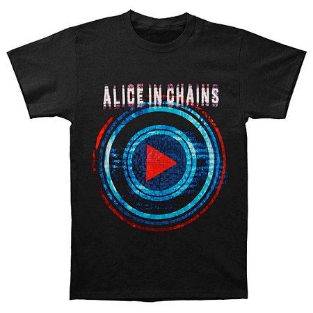 Camiseta Básica Banda Rock Alice In Chains Play Button Tour