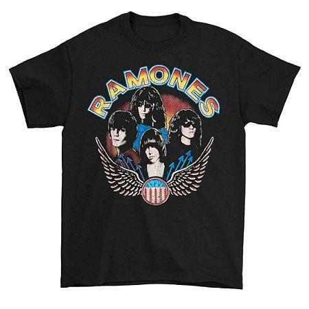 Camiseta Básica Banda Rock Ramones Vintage Wings Photo