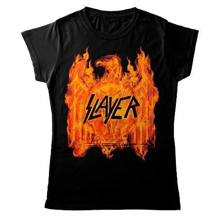 Camiseta Feminina Baby Look Banda Heavy Metal Slayer Logo Fire