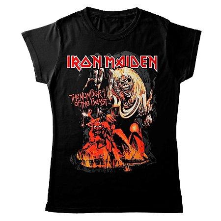 Camiseta Feminina Baby Look Banda Heavy Metal Iron Maiden Number Of The Beast