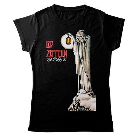 Camiseta Feminina Baby Look Banda Rock Led Zeppelin Hermit Black