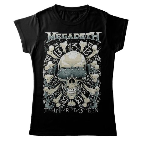 Camiseta Feminina Baby Look Banda Heavy Metal Megadeth Ossos