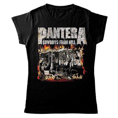 Camiseta Feminina Baby Look Banda Pantera Thrash Metal Cowboys From Hell