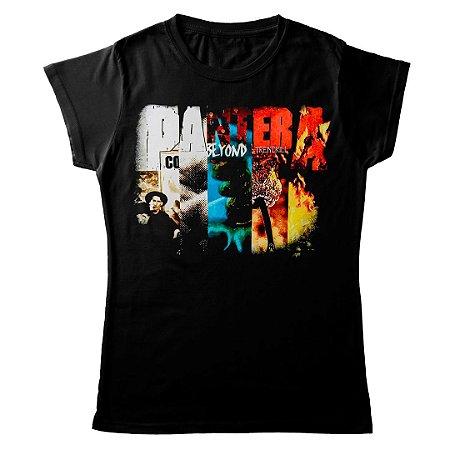 Camiseta Feminina Baby Look Banda Pantera Thrash Metal Collage