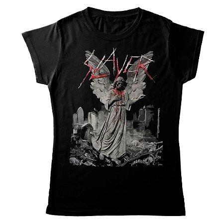 Camiseta Feminina Baby Look Banda Thrash Metal Slayer Gravestone Walks
