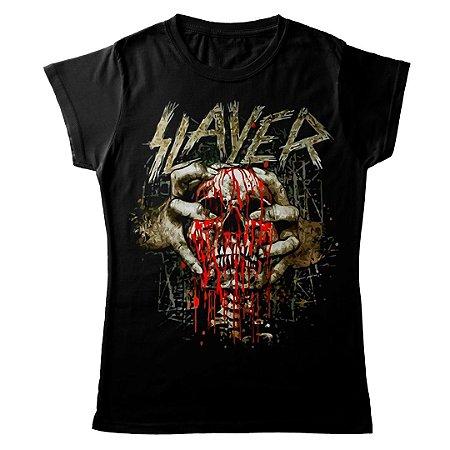 Camiseta Feminina Baby Look Banda Thrash Metal Slayer Skull Clench