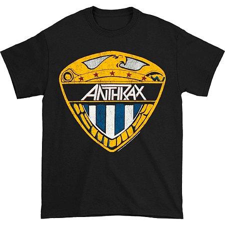 Camiseta Básica Banda Heavy Metal Anthrax Eagle Shield