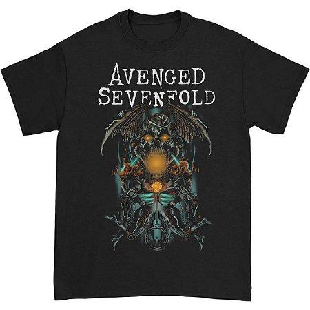 Camiseta Básica Banda Nu Metal Avenged Sevenfold Skull