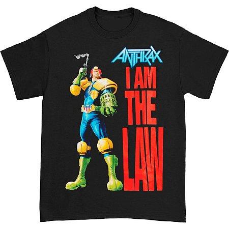 Camiseta Básica Banda Heavy Metal Anthrax I Am The Law