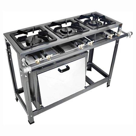 Fogão Industrial Omega 30x30 Perfil 5cm 3 Bocas Baixa Pressão 1 Duplo 2 Simples com Pé com Forno