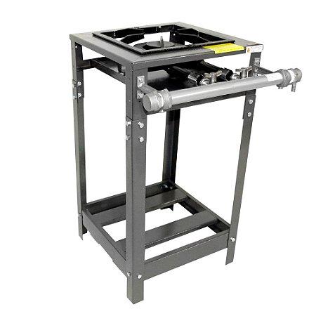 Fogão Industrial Omega 30x30 Perfil 7cm 1 Boca Baixa Pressão 1 Duplo Com Pé.