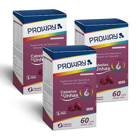 Combo Suplemento Vitaminico Cabelos e Unhas 60Caps 500mg