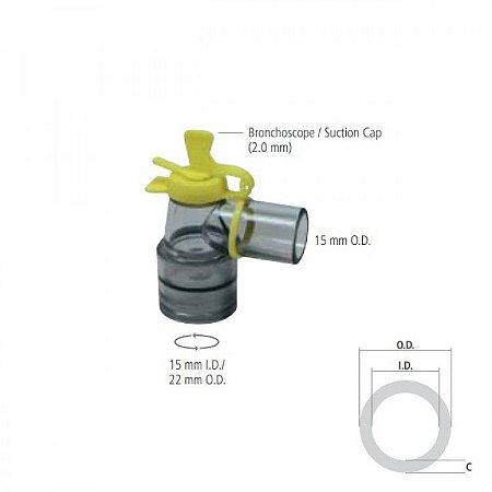 Conector Giratório para Broncoscopia (2.0 mm) I.D. 15mm  O.D. 22mm e O.D. 15 mm