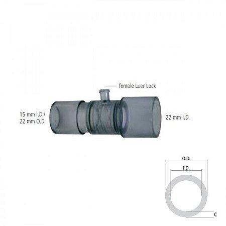 Conector Reto com Luer Lock I.D. 15mm / O.D. 22mm e I.D. 22 mm