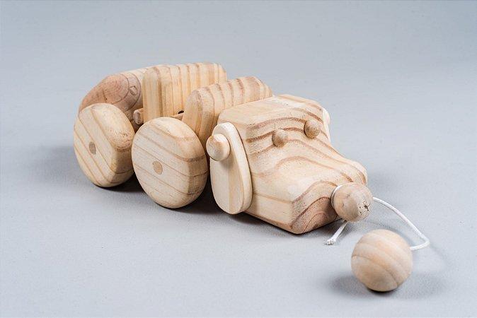 Brinquedo de Puxar - Cachorro Articulado de Madeira Pinus