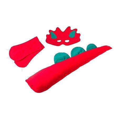Fantasias Infantis - Dinossauro Vermelho Kit Completo