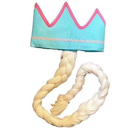Fantasias Infantis - Coroa Azul com Trança Branca