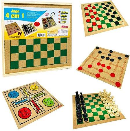 Jogo 4 em 1 - Xadrez, Damas, Ludo e Trilha