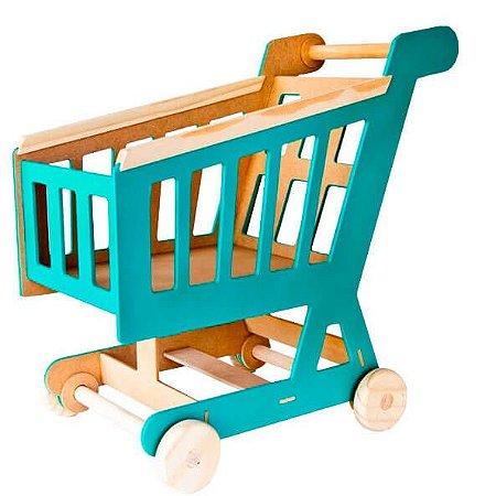 Carrinho de Mercado de Madeira - Brinquedo Educativo