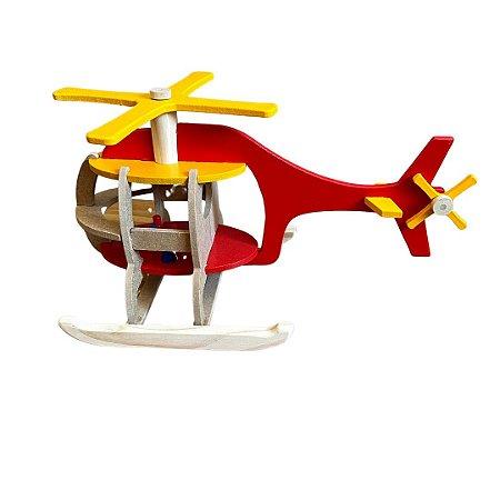 Helicóptero de Madeira - Brinquedo Educativo