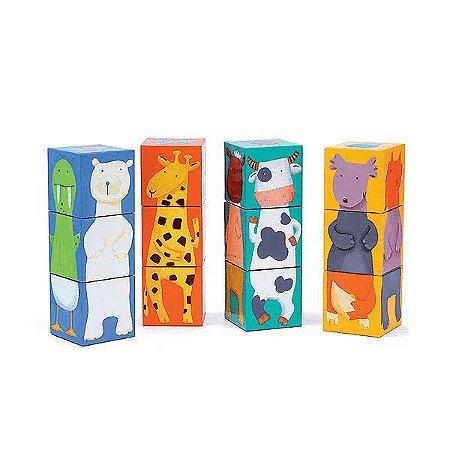 Cubos de empilhar - Animais Coloridos