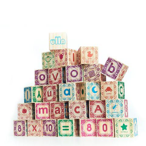 Kit ABC Ilustrado - Blocos de Montar de Madeira
