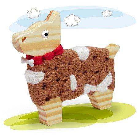 Alinhavo Cachorro Juca - Brinquedo Educativo de Madeira