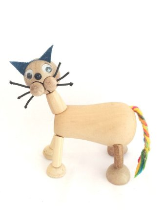 Brinquedo de madeira articulado - Gato Bacana