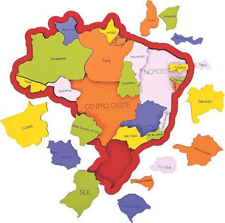 Quebra-cabeça Mapa do Brasil - Regiões, Estados e Capitais