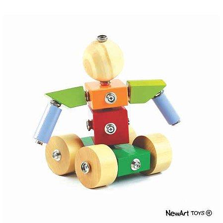 Blocos de montar de madeira - Click Formas Bola e 4 Rodas