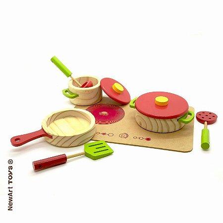Coleção comidinhas! Cooktop e conjunto de panelas - 7 peças
