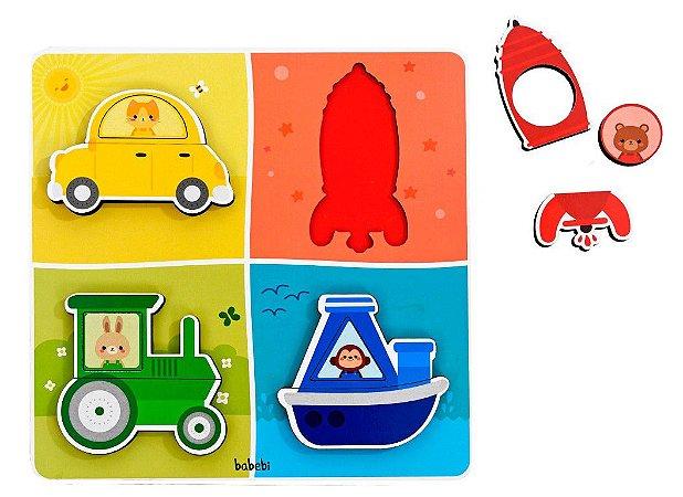 Quebra-cabeça Infantil de Encaixe - Transportes, cores e formas