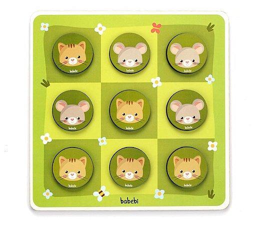Jogo da Velha entre Gato e Rato - Brinquedo Educativo de Madeira