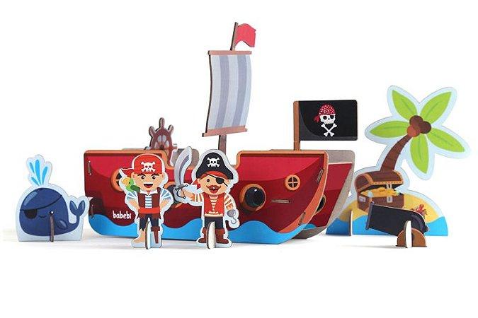 Quebra-cabeça de Madeira 3D - Piratas