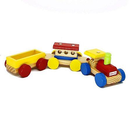 Trenzinho Médio de Madeira - Brinquedo Educativo