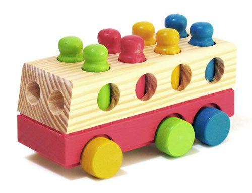 Brinquedo de Madeira - Mini Ônibus com Pinos