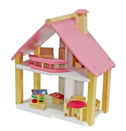 Casinha de Boneca de Madeira - Mini Chalé Pink