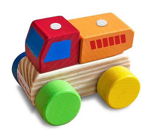 Brinquedo de Madeira - Mini Caminhão Caçamba Júnior