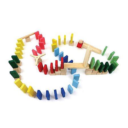 Brinquedo de Madeira - Efeito Dominó Master - 76 peças
